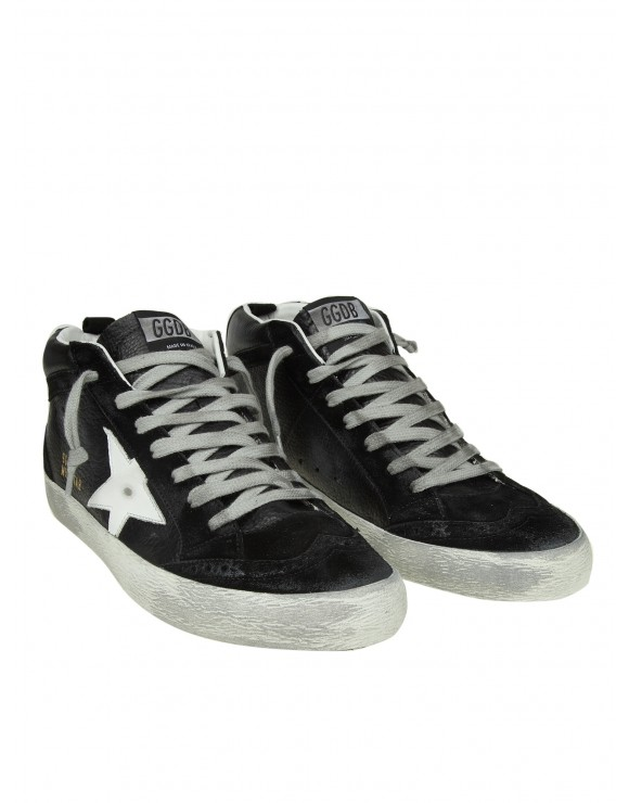 GOLDEN GOOSE SNEAKERS MID STAR IN PELLE NERO