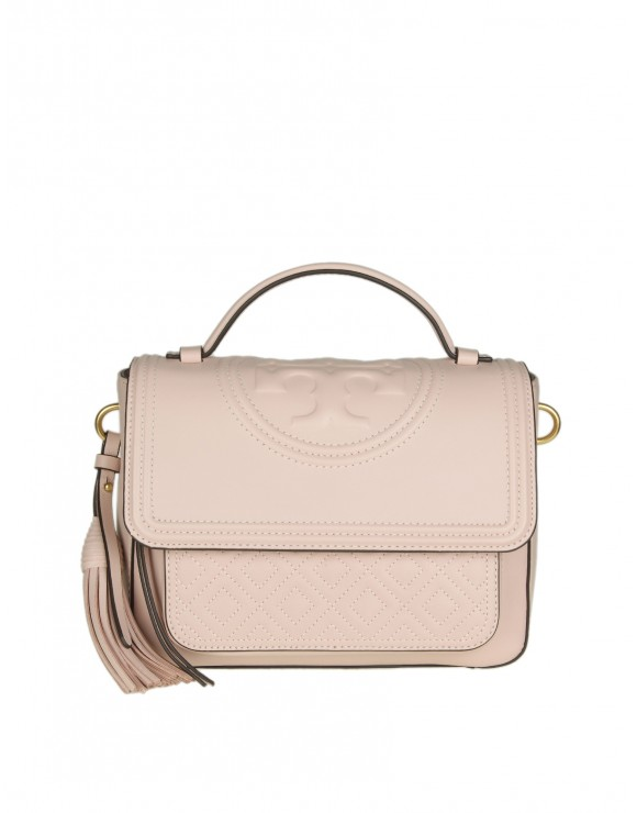 "TORY BURCH ""FLEMING SATCHEL"" IN PELLE COLORE ROSA"