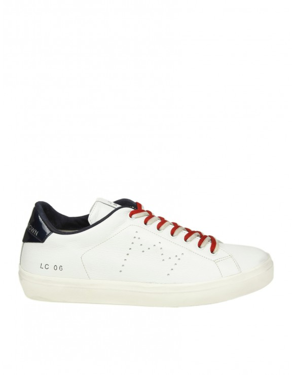 LEATHER CROWN SNEAKERS IN PELLE BIANCA