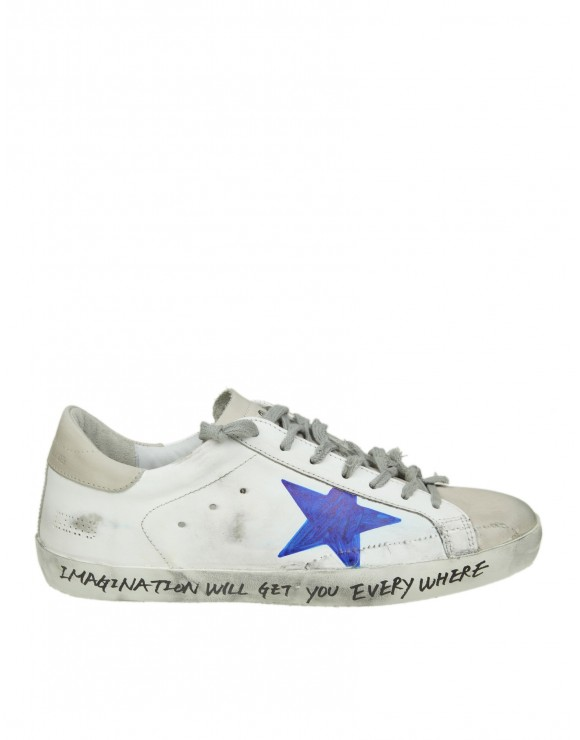 "GOLDEN GOOSE SNEAKERS ""SUPERSTAR"" IN PELLE BIANCA DECORATA A MANO"