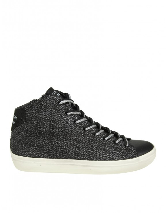 LEATHER CROWN SNEAKERS IN PELLE LAMINATA COLORE GRIGIO FUMO