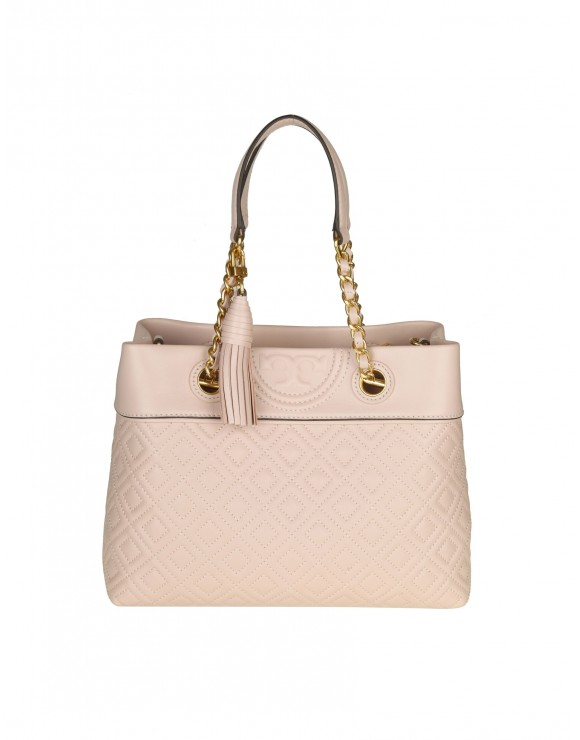 "TORY BURCH BORSA A MANO ""FLEMING SMALL TOTE"" IN PELLE COLORE ROSA CIPRIA"
