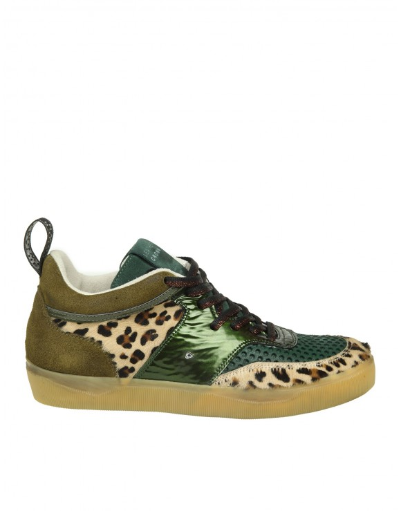 LEATHER CROWN SNEAKERS IN CAMOSCIO E CAVALLINO COLORE VERDE