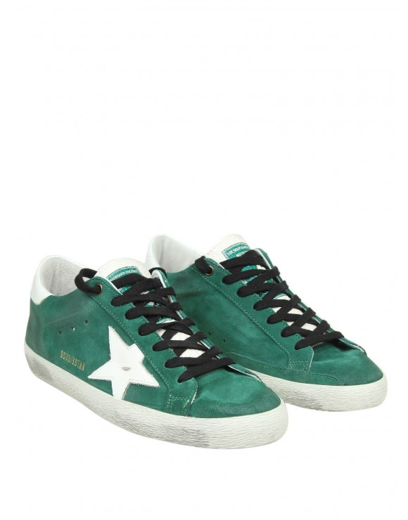 "GOLDEN GOOSE SNEAKERS ""SUPERSTAR"" IN CAMOSCIO COLORE VERDE"