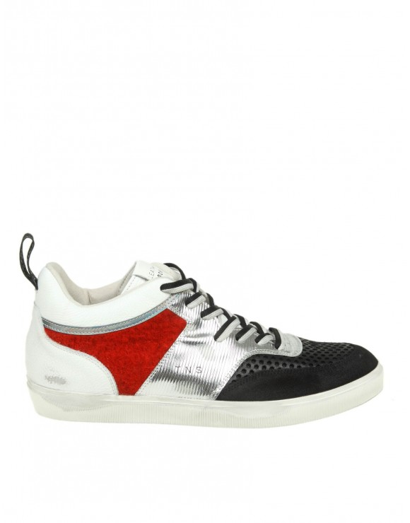 LEATHER CROWN SNEAKERS IN PELLE CON DETTAGLI IN CAMOSCIO E LANA