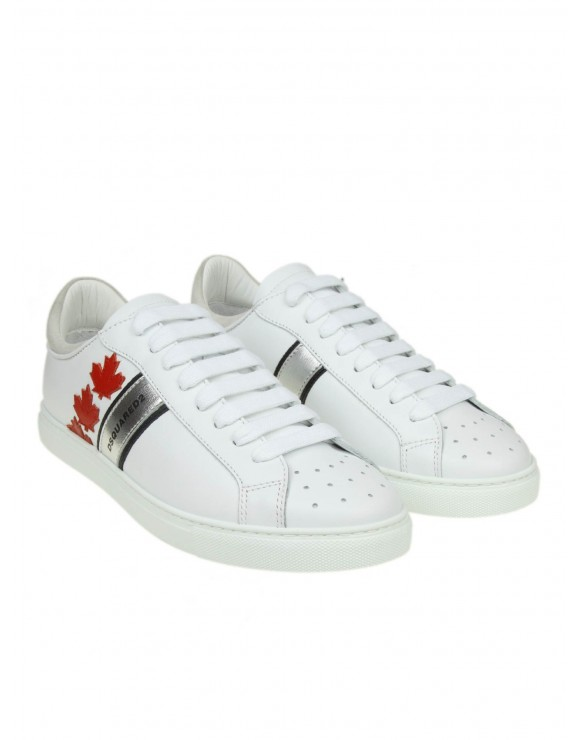 "DSQUARED2 SNEAKERS ""LOW TOP"" IN PELLE BIANCA"
