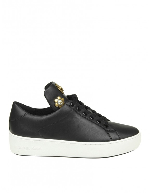 """MICHAEL KORS """"MINDY"""" SNEAKERS IN BLACK COLOR LEATHER"""