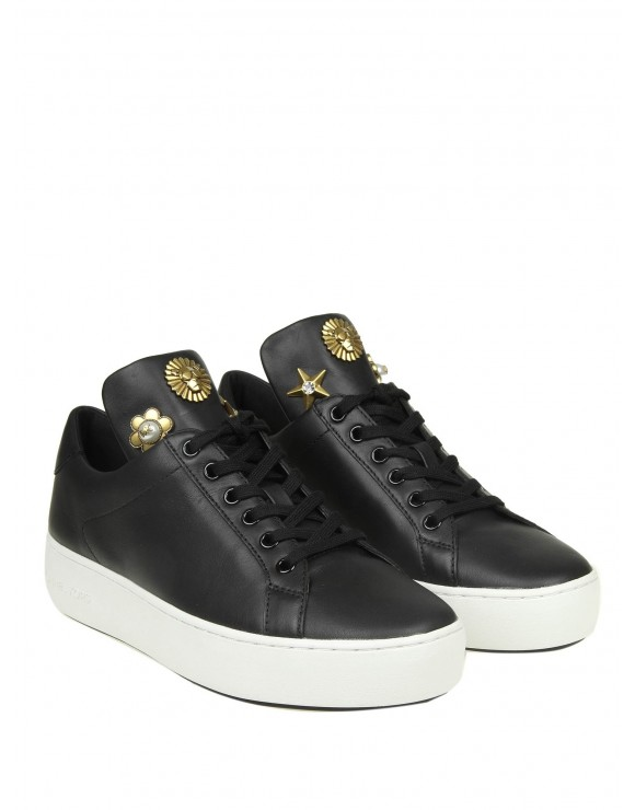 "MICHAEL KORS SNEAKERS ""MINDY"" IN PELLE COLORE NERO"