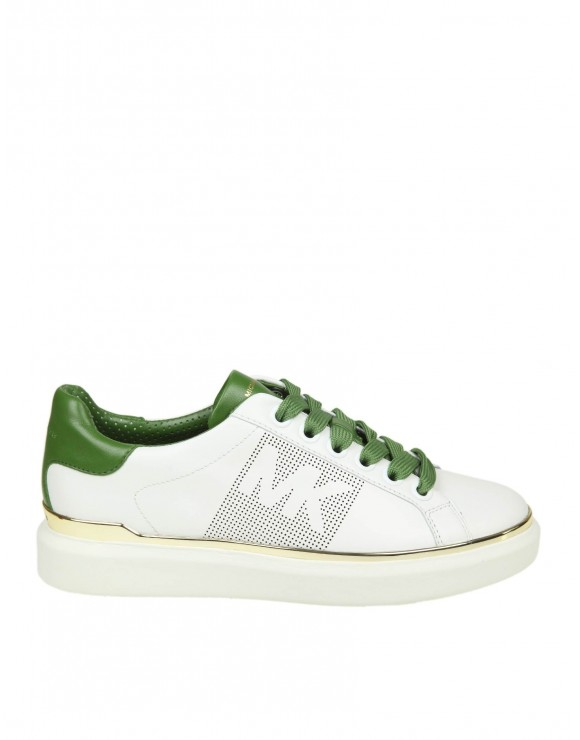"MICHAEL KORS SNEAKERS ""MAX LACE UP"" IN PELLE COLORE BIANCO"