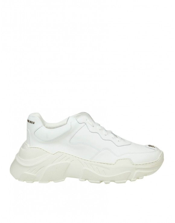 "PHILIPP PLEIN SNEAKERS ""RUNNER ORIGINAL"" IN PELLE BIANCA"