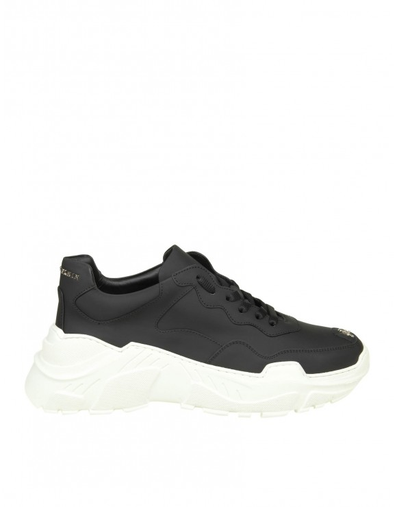 "PHILIPP PLEIN SNEAKERS ""RUNNER ORIGINAL"" IN PELLE NERA"