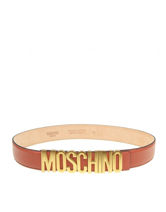 MOSCHINO BELT IN ROSE LEATHER WITH LOGO
