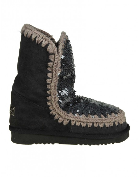 "MOU SNEAKERS ""ESKIMO 24"" IN CAMOSCIO CON PAILLETTES APPLICATE COLORE BLU"