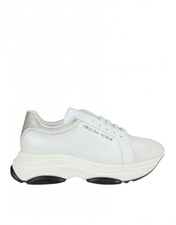 PHILIPP PLEIN SNEAKERS IN PELLE COLORE BIANCO CON STRASS APPLICATI