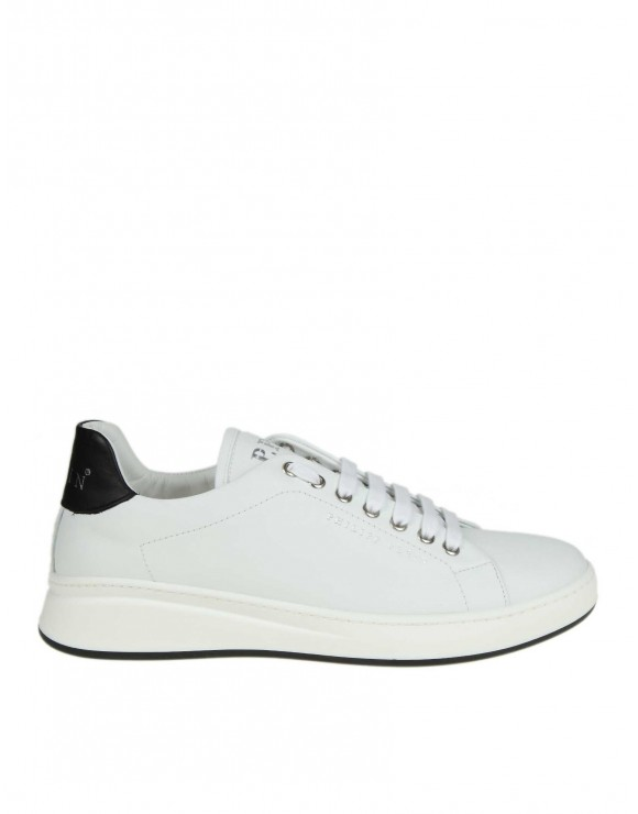 "PHILIPP PLEIN SNEAKERS ""LO-TOP ORIGINAL"" IN PELLE BIANCA"