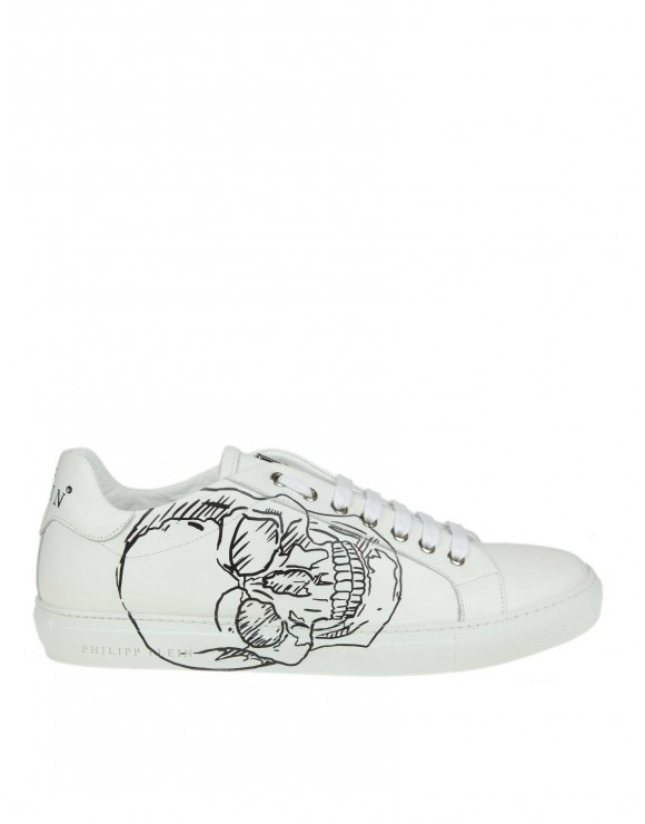 "PHILIPP PLEIN SNEAKERS ""LO-TOP"" IN PELLE BIANCA CON STAMPA TESCHIO"