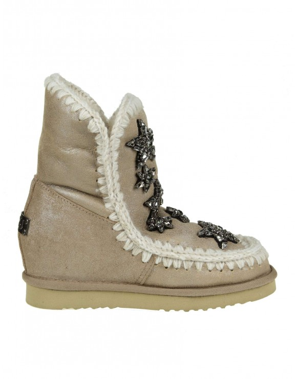 "MOU SNEAKERS ""INNER WEDGE"" IN PELLE COLORE BEIGE CON DECORAZIONE CRISTALLI APPLICATI"