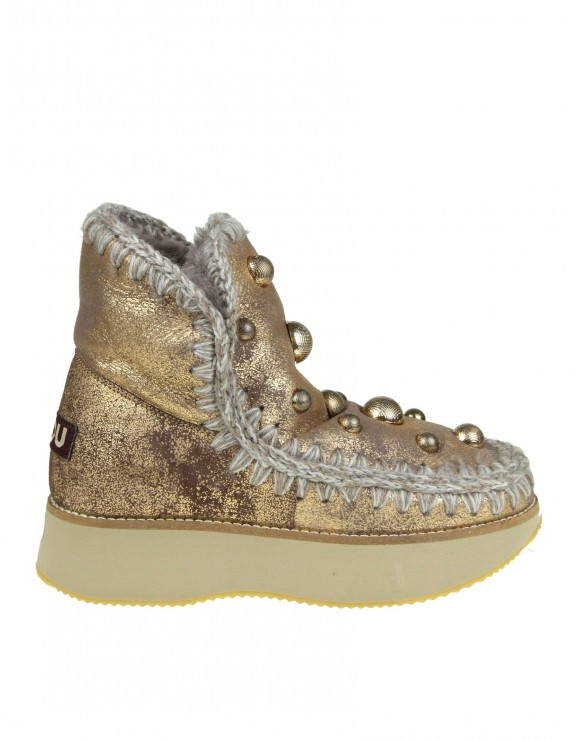 "MOU SNEAKERS ""ESKIMO 18"" IN PELLE LAMINATA ORO CON BORCHIE APPLICATE"