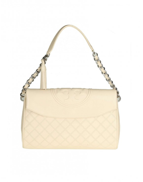 "TORY BURCH BORSA ""FLEMING DISTRESSED"" IN PELLE COLORE CREMA"