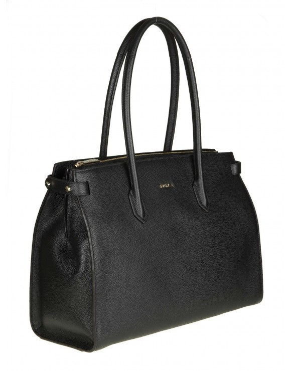 "FURLA SHOPPING ""PIN M"" IN PELLE COLORE NERO"