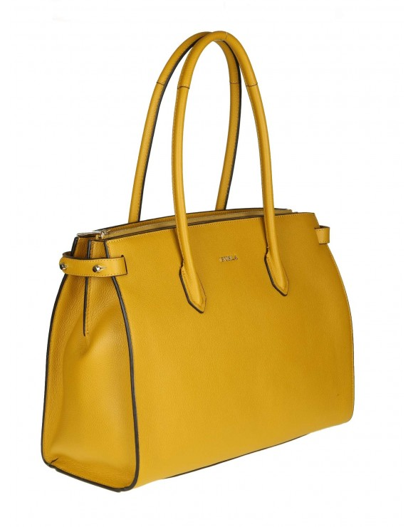 "FURLA SHOPPING ""PIN M"" IN PELLE COLORE GIALLO OCRA"