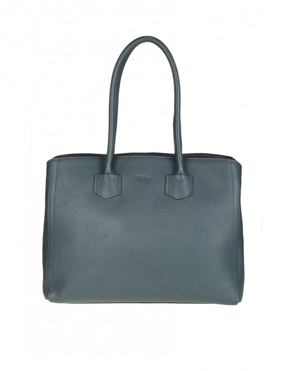 "FURLA SHOPPING ""ALBA L"" IN PELLE COLORE BLU"