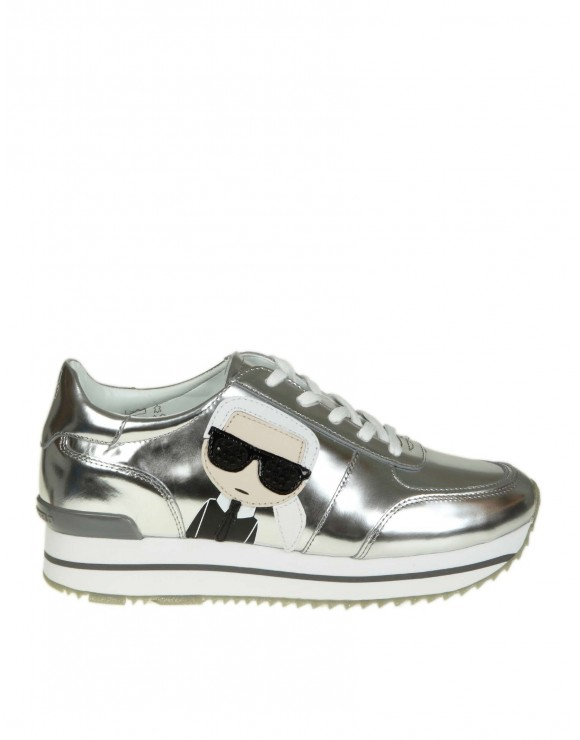 KARL LAGERFELD SNEAKERS IN PELLE LAMINATA COLORE ARGENTO