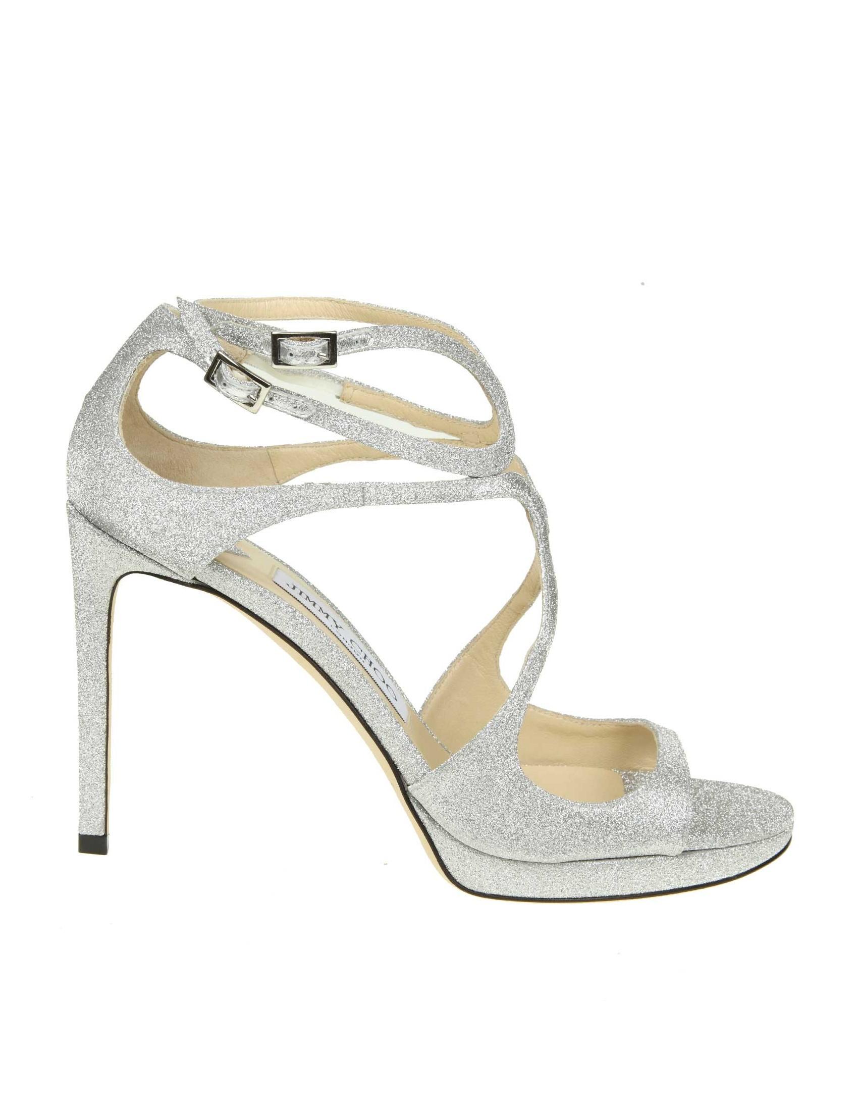 Choo Tessuto Jimmy In Colore Argento Sandalo 100 Glitterato Lace hxtsrCQd