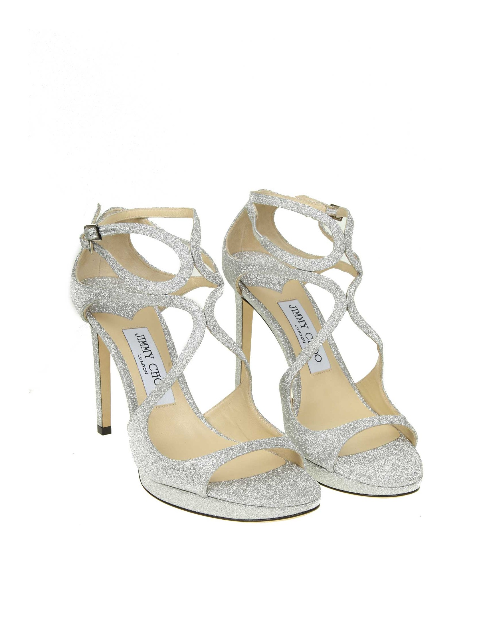new style 63e5c 2b4db JIMMY CHOO LACE 100 SANDAL IN SILVER COLOR GLITTERY FABRIC