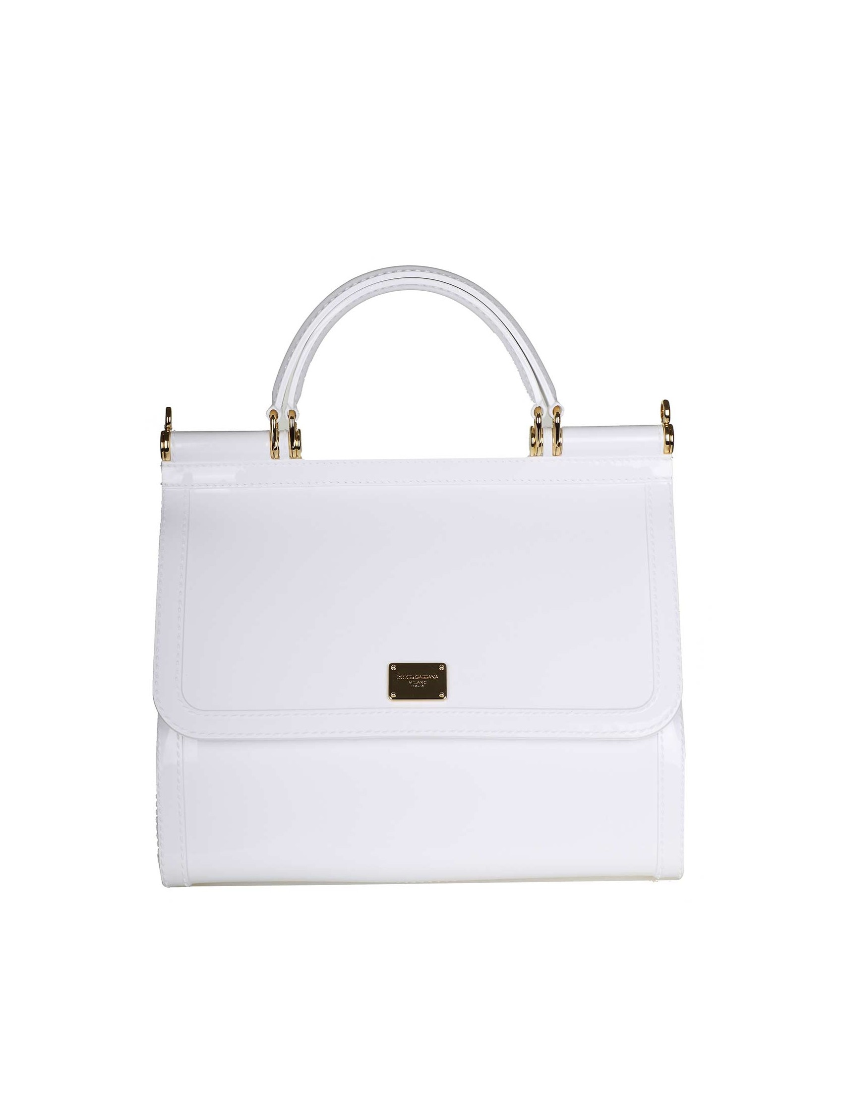 d26ebb0eb953 Sicily handbag in semitransparent rubber. White color. Front flap with  metal plate. Front logo. Double handle with removable top
