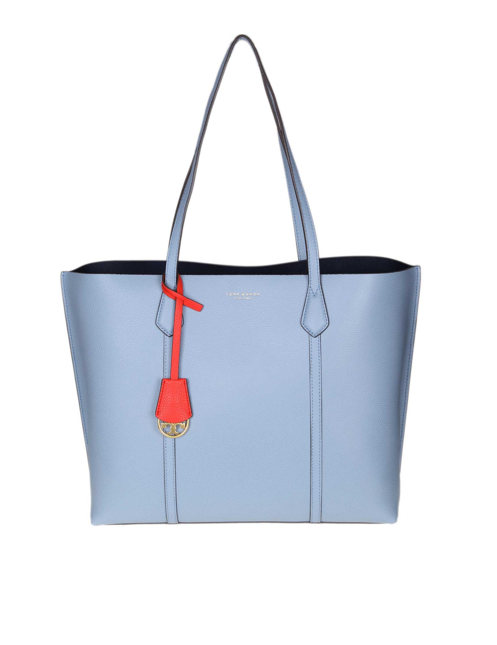31c3fa85f090 Light blue colour 24 cm leather handles. Removable charm. Leather interior  1 internal central pocket with zip. Dimensions  Length 34 cm. Height 28 cm