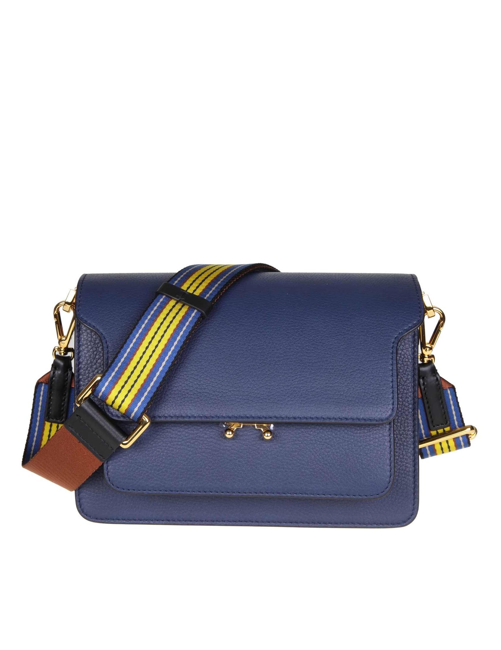 shoulder bag. Adjustable fabric shoulder strap. Blue color. Lock with  pressure mechanism. A pocket under the flap. A pocket on the back. Two  internal ... e58195625b043