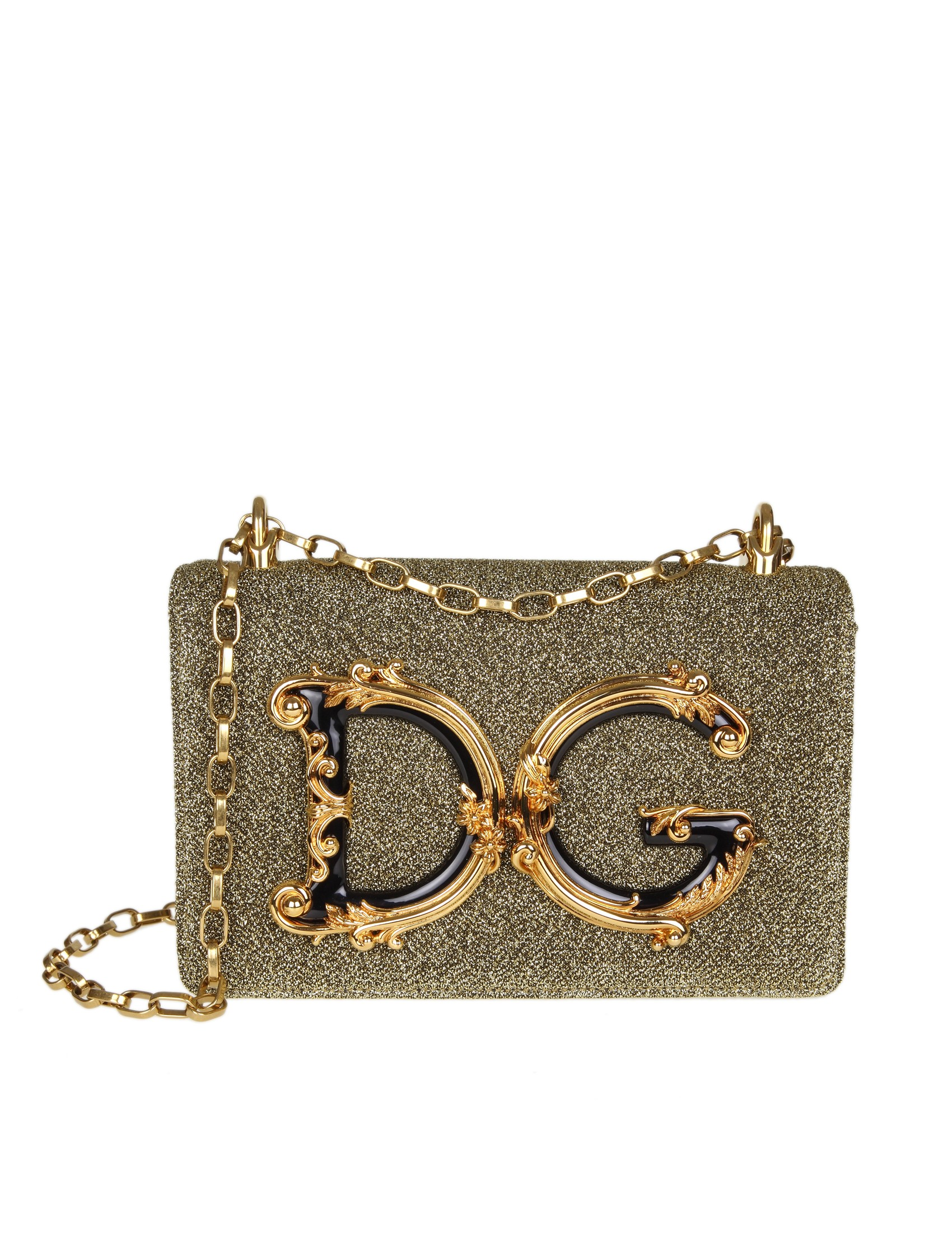b555e2317592 Shoulder bag in lurex fabric. Colour gold. DG logo in baroque style. Front  flap with hidden closure with magnet. Chain shoulder strap in antiqued gold  color