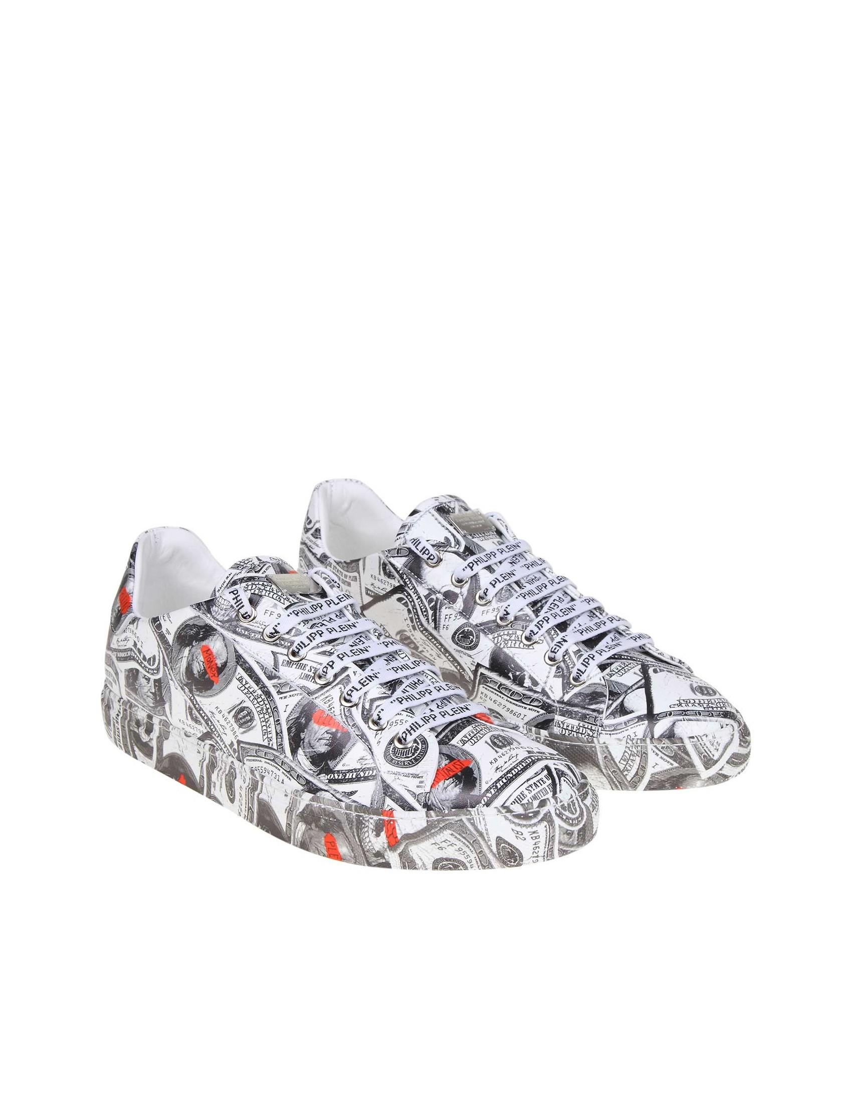 45109f8468 PHILIPP PLEIN LO-TOP DOLLAR SNEAKERS IN LEATHER WITH DOLLAR PRINT