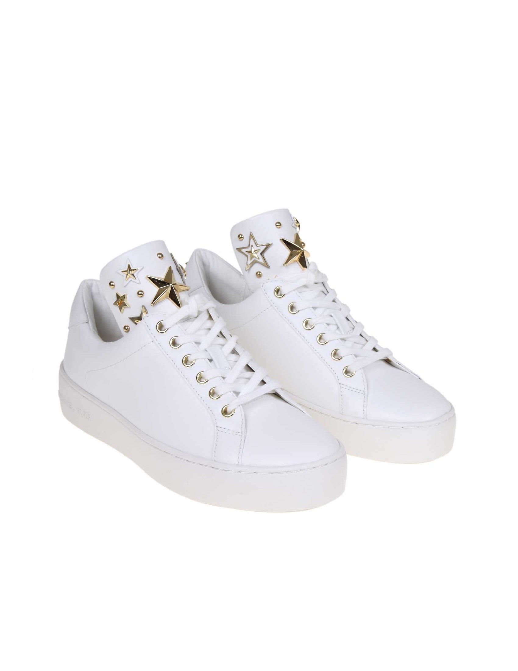buy online 51a44 1ecec MICHAEL KORS MINDY SNEAKERS IN WHITE LEATHER
