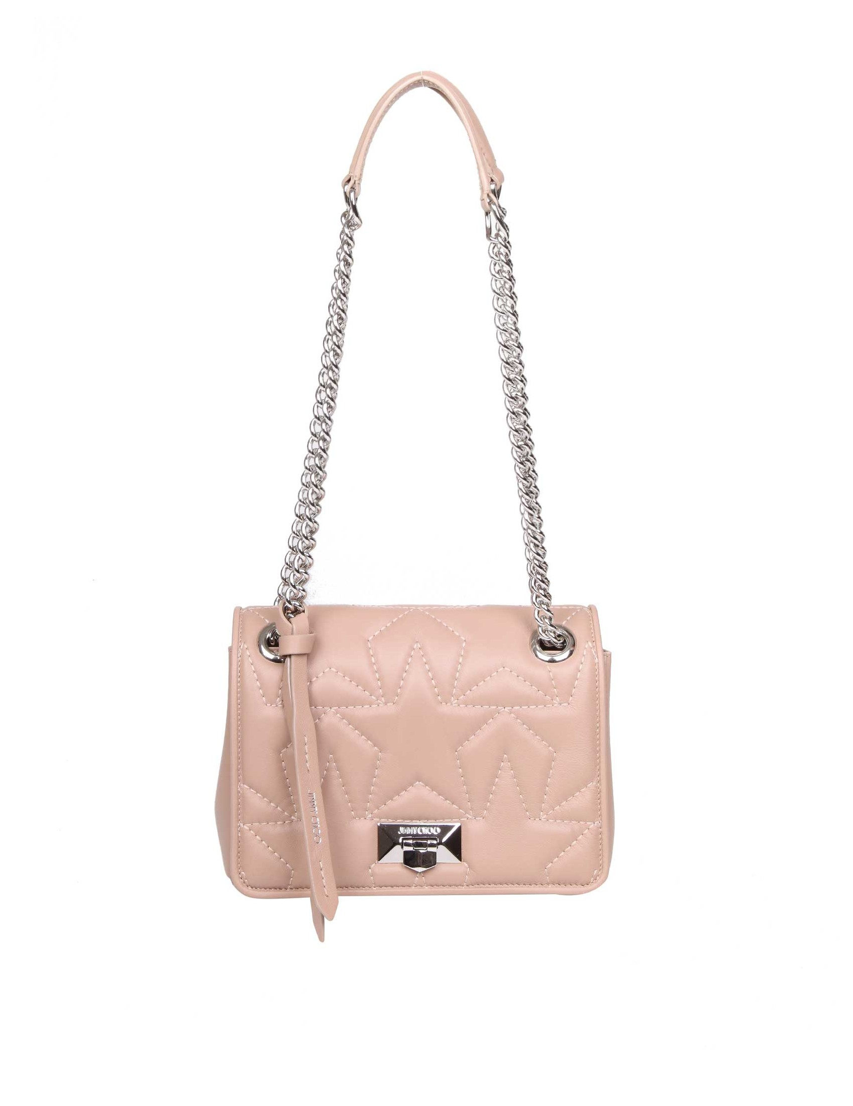 Shoulder strap in matelassé nappa leather. Pink color. Quilted star pattern  on the front. Interlocking closure. Adjustable chain shoulder strap 787a1d5f5bcb1