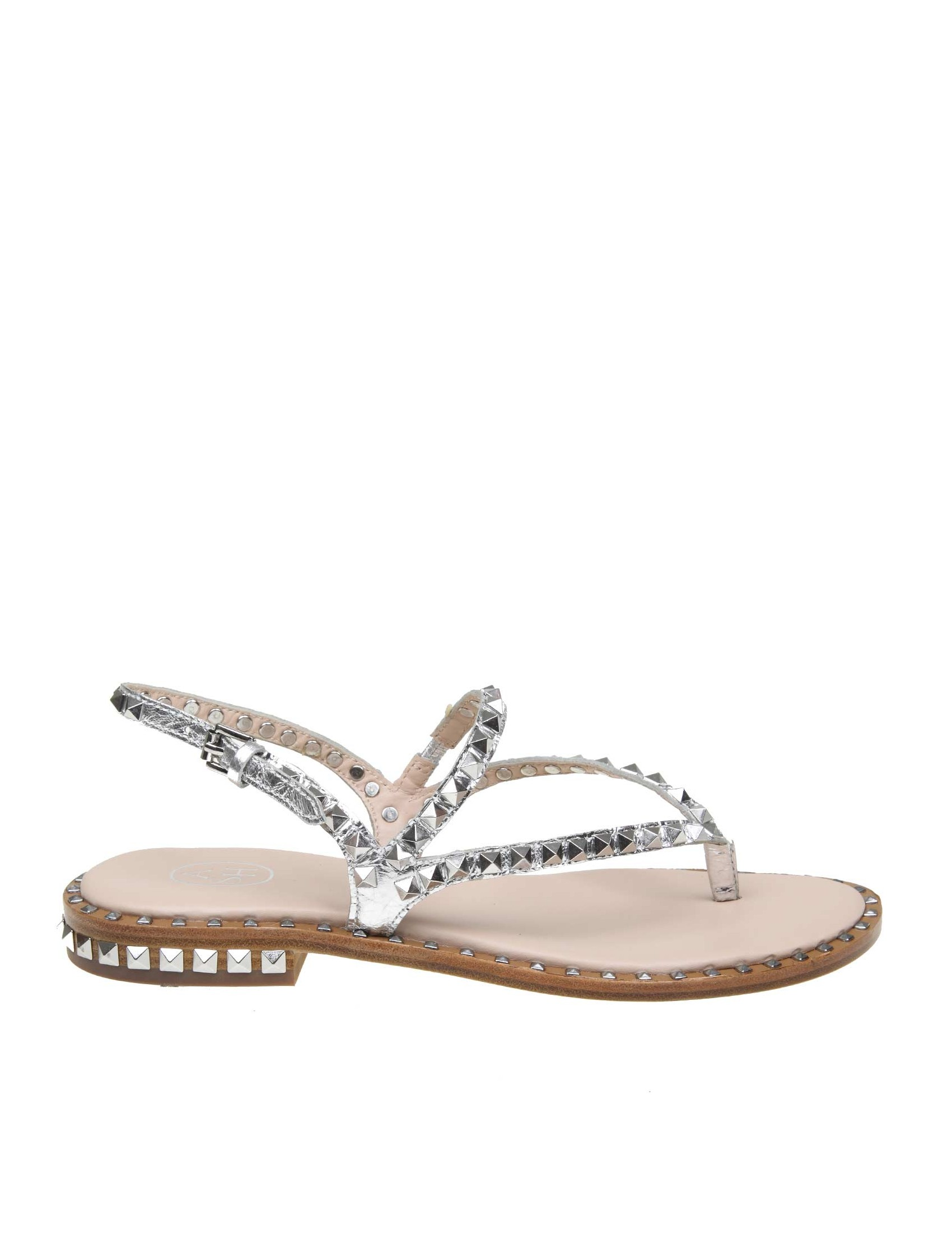 Ash Peps Colore Sandalo Pelle Laminata Argento In N80wOnvm