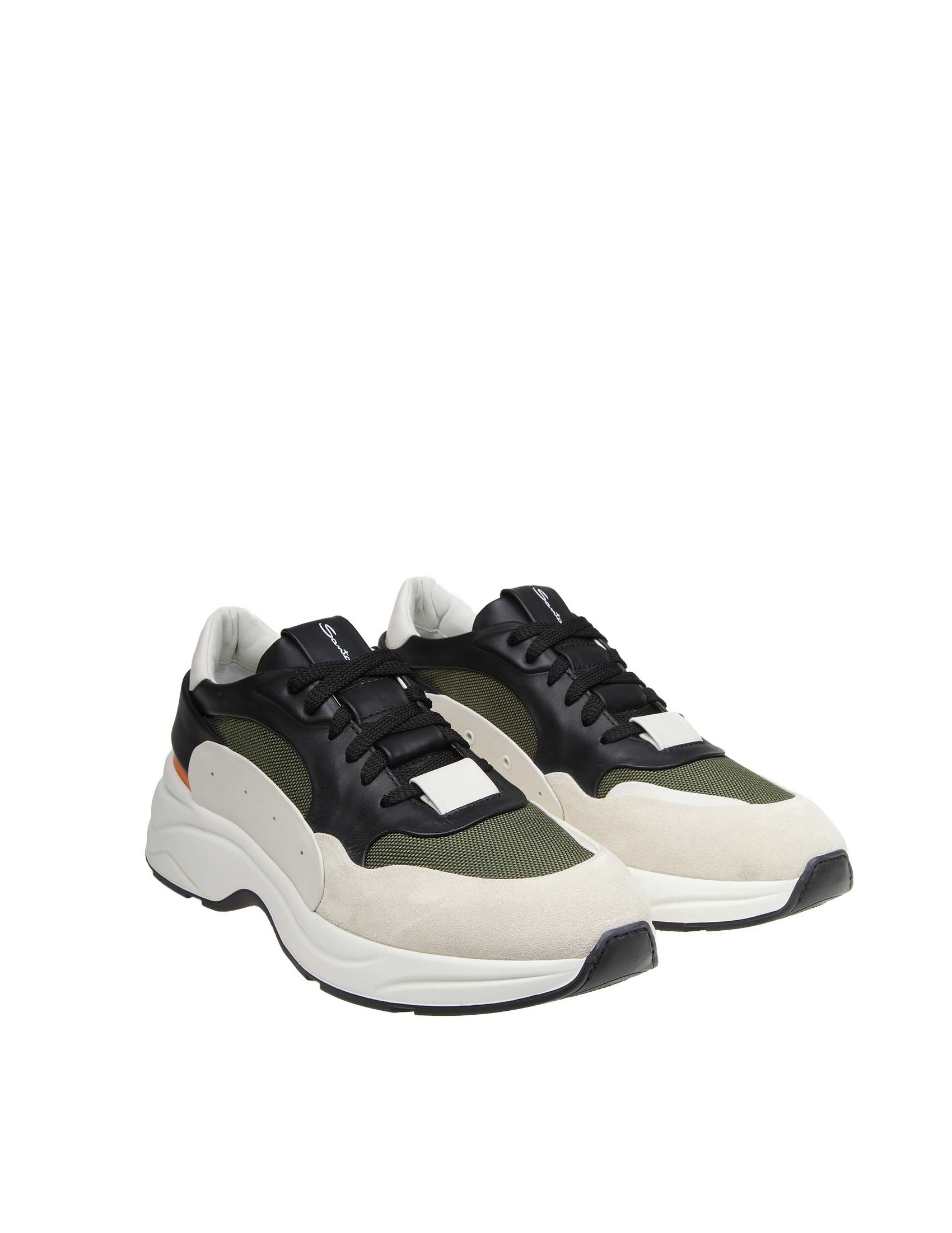 14d15ed725c SANTONI SNEAKERS IN FABRIC AND SUEDE