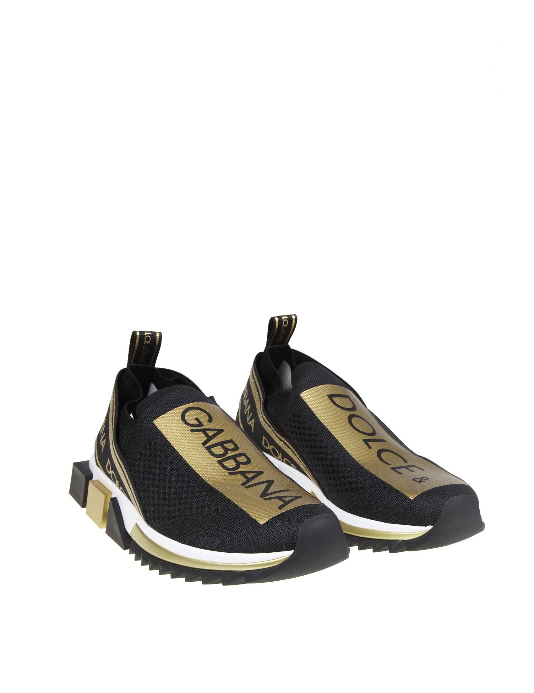 e2f14f8c DOLCE & GABBANA SNEAKERS SORRENTO WITH LOGO COLOR BLACK / GOLD