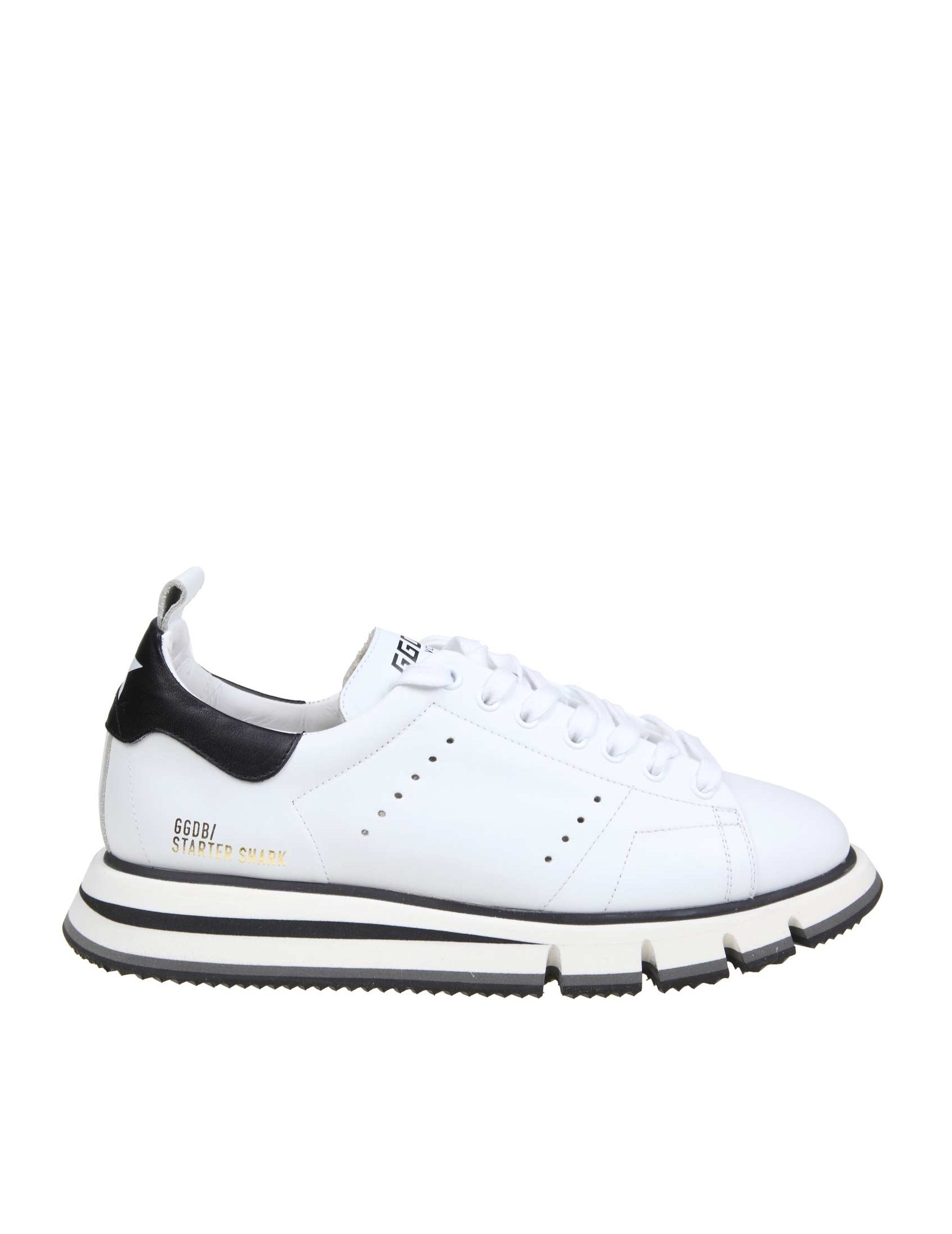 nuovo di zecca c5fe4 a07be GOLDEN GOOSE SNEAKERS STARTER SHARK IN WHITE LEATHER