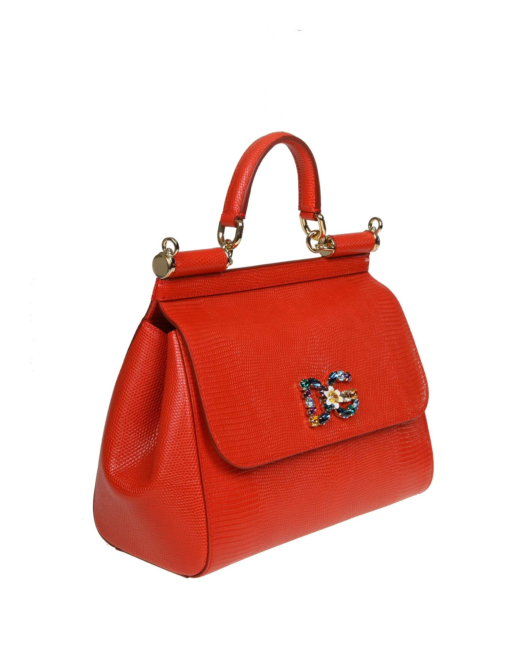 156cdae10d DOLCE & GABBANA SICILY HANDBAG RED IGUANA PRINT LEATHER WITH DG LOGO WITH  CRYSTALS