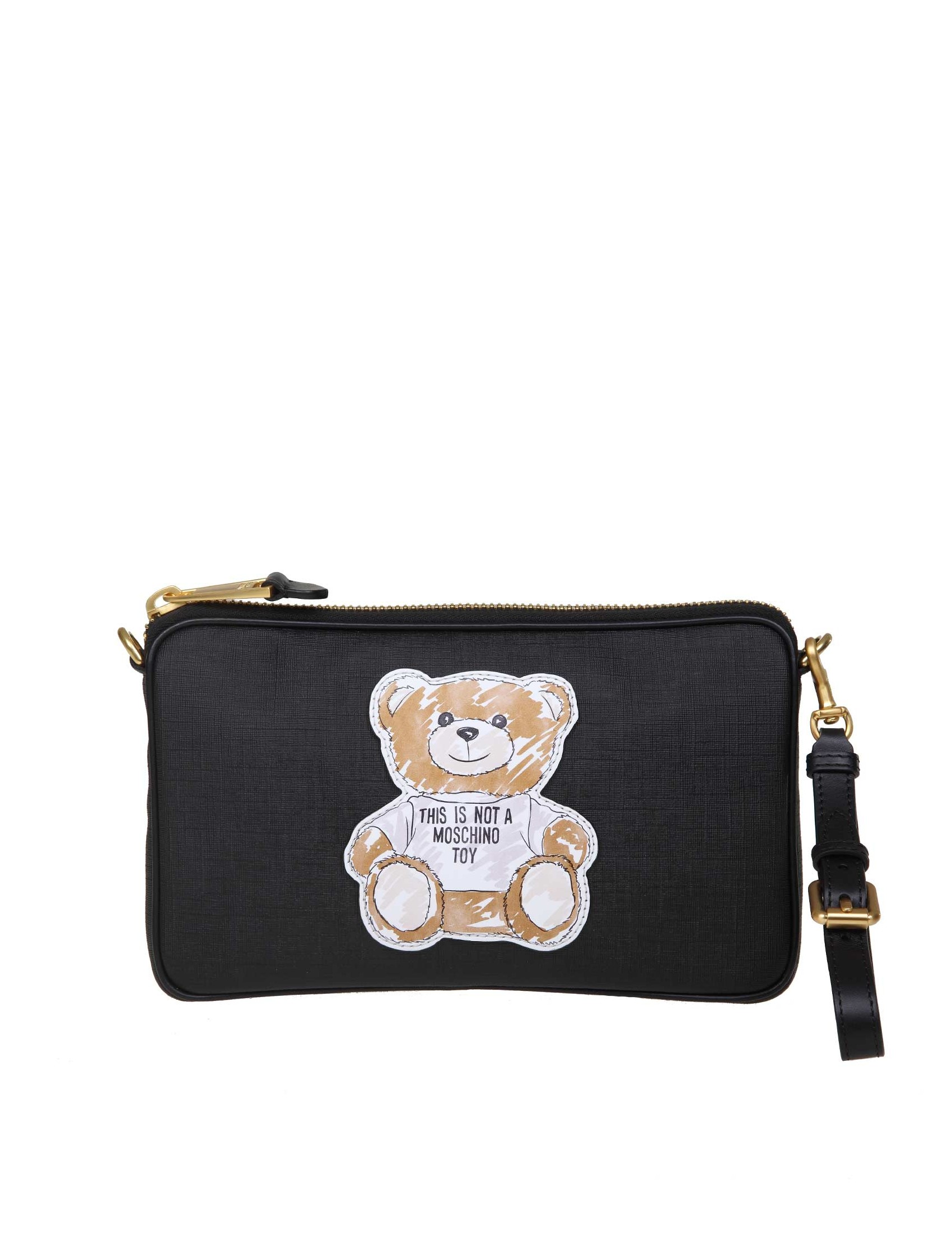 4f3c4f043e Textured faux leather shoulder strap. Black colour. Embossed Teddy print on  the front. Embossed leather logo on the back. Zip closure