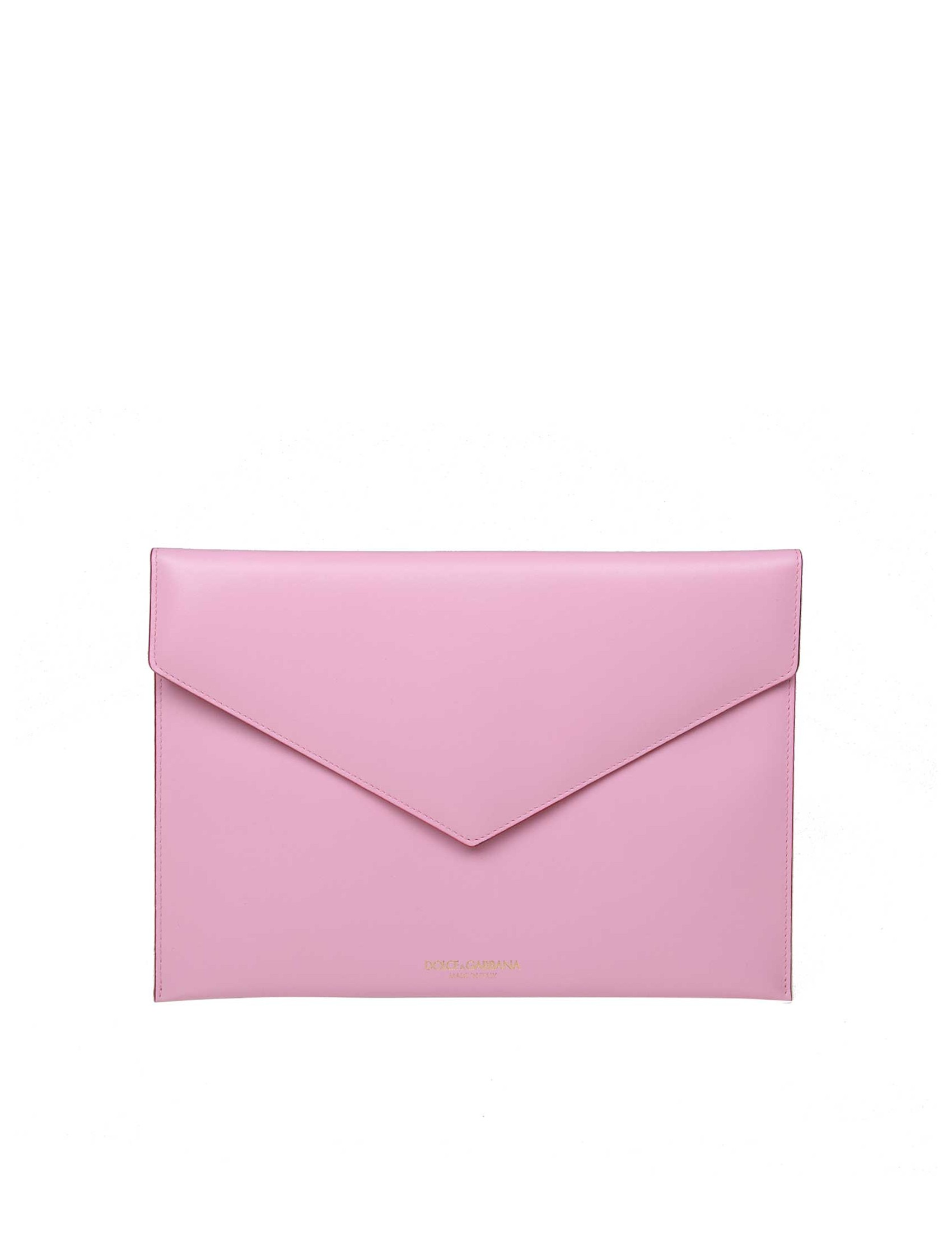 cheap for discount da186 c8ef8 DOLCE & GABBANA FLAT ENVELOPE IN SMOOTH CALF COLOR PINK