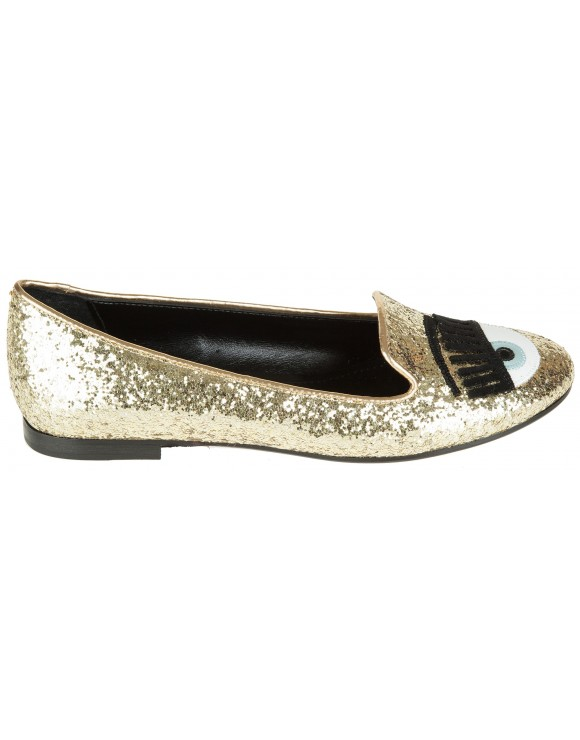 CHIARA FERRAGNI GOLD GLITTER EYE SLIPPER