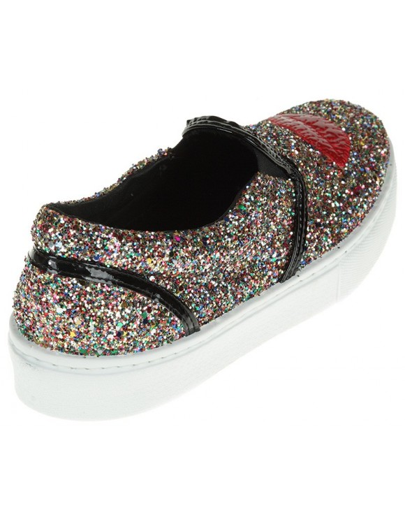 "CHIARA FERRAGNI SLIP-ONS ""MAKE-UP"" MULTICOLOR IN GLITTER"