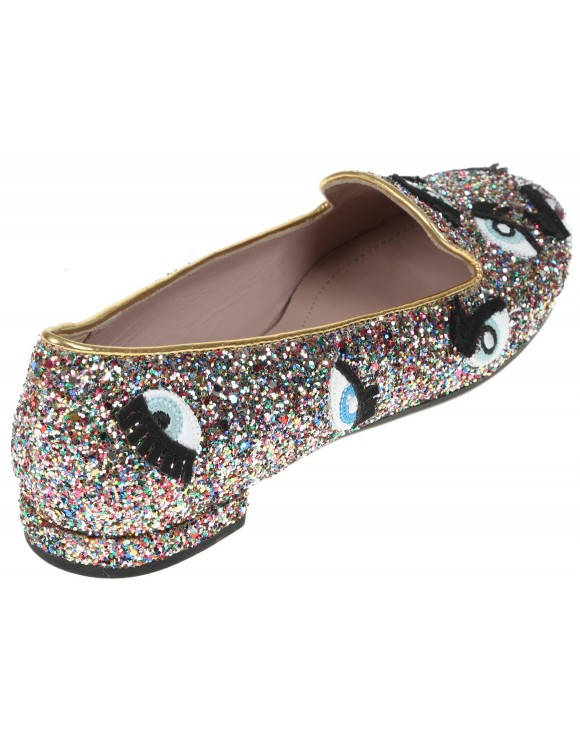 CHIARA FERRAGNI MULTICOLOR GLITTER POPPY SLIPPER