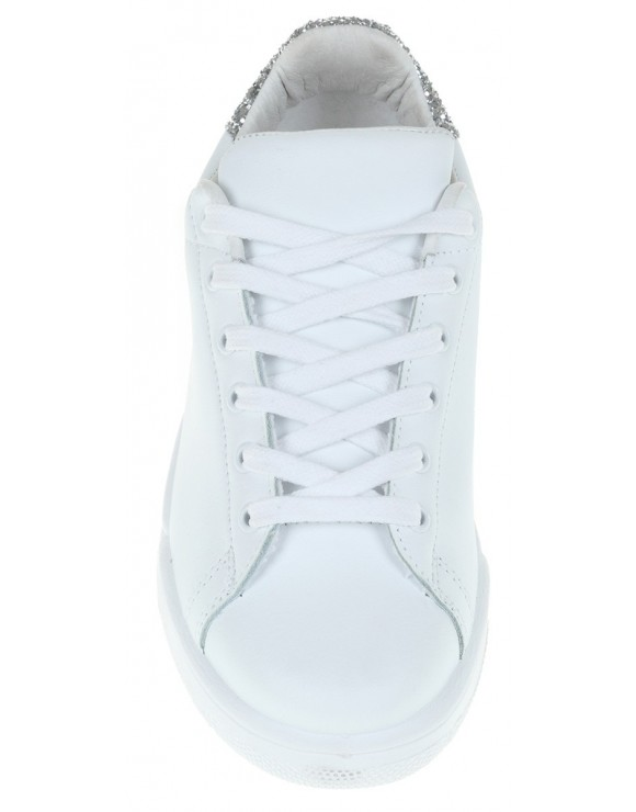 CHIARA FERRAGNI WHITE LEATHER AND SILVER  GLITTER ROGER SNEAKER